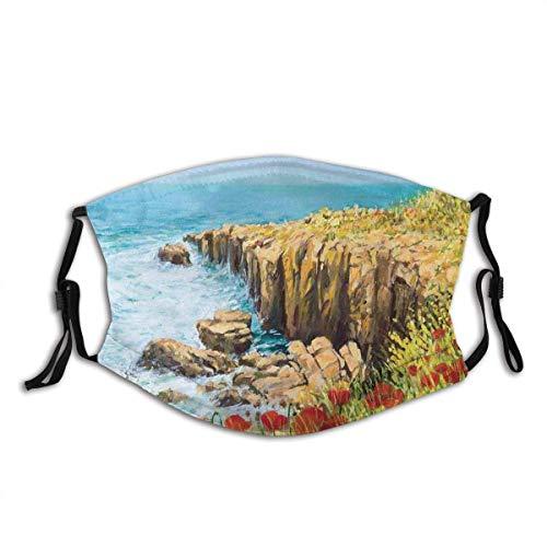 Coastal Seascape and Amapolas On The Cliffs High Above The Bay Filtro reutilizable y reutilizable