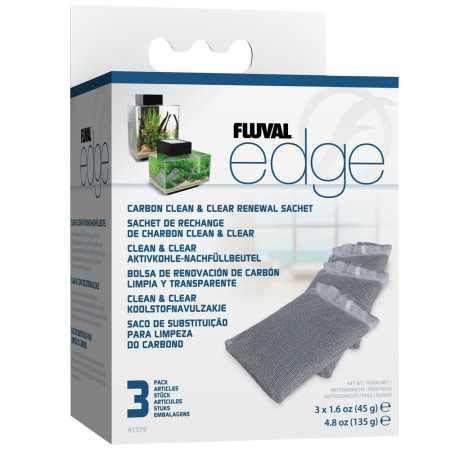 Fluval Edge Clean & Clear Aktivkohle-Nachfüllbeutel 3er Pack