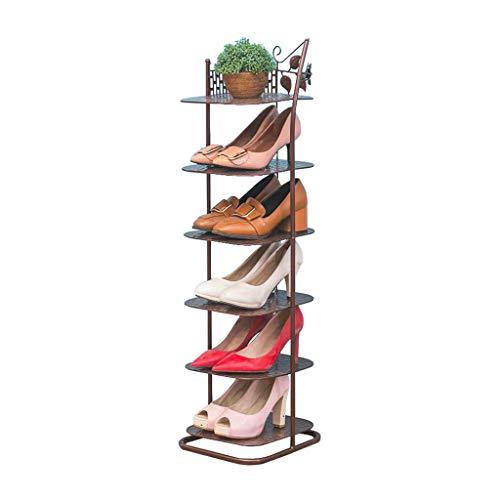 ZZYE Zapatero Torre de Almacenamiento de Zapatos Torre de Almacenamiento Unidad de Aparato de Almacenamiento Metal 6 Nivel marrón Organizador apilable Estantes de vestíbulo Baño Perchero Zapatero