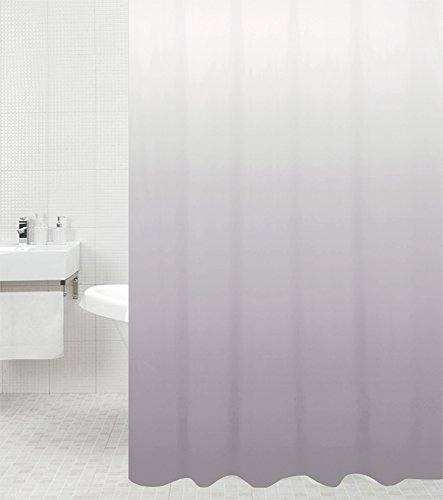 Sanilo Duschvorhang Magic Grau 180 x 200 cm, hochwertige Qualität, 100prozent Polyester, wasserdicht, Anti-Schimmel-Effekt, inkl. 12 Duschvorhangringe