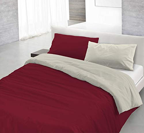 Italian Bed Linen Juego de Funda nórdica Natural Colour, Burdeos/Crema, 2 Plazas