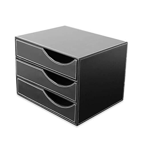 YASEking Artificial Escritorio de Cuero cajón clasificador de Tres Capas cajón de la Oficina de Almacenamiento de Datos 2 Colores 32,5 * 25,5 * 23,5 cm (Color: Marrón, Negro) (Color: B1)