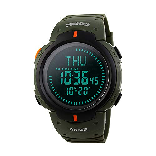 Men's Military Sports Digital Watch Survival Compass LED Screen Large Face 50M Waterproof Stopwatch Alarm Wristwatch (Green)