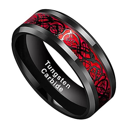 BestTungsten 8mm Black Tungsten Carbide Rings for Men Women Wedding Bands Celtic Dragon Red Carbon Fiber Inlay Polished Comfort Fit
