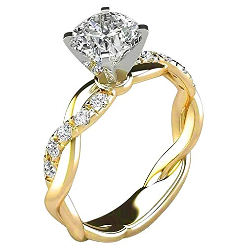 Clearance Deals Rings,Silver Ring Womens Diamond Engagement Wedding Band Rings Jewelry Gift for Moms (Gold, 6)