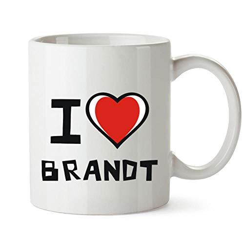 Idakoos I love Brandt - Taza de corazón bicolor (12 onzas)