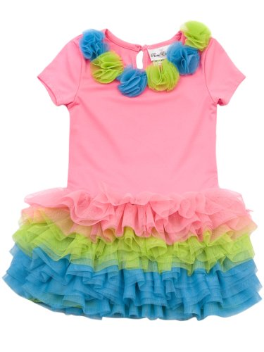 Rare Editions Baby Girls' Neon Tutu Dress, Pink/Green/Blue, 12 Months
