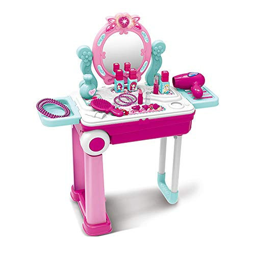 LIYANG Dressing Table Toy Girl House Girl Princess Dressing Set Small Child Cosmetic Toy Plastic Birthday Gift Can Be Turned Into Suitcase for Girls Birthday Gift and Present