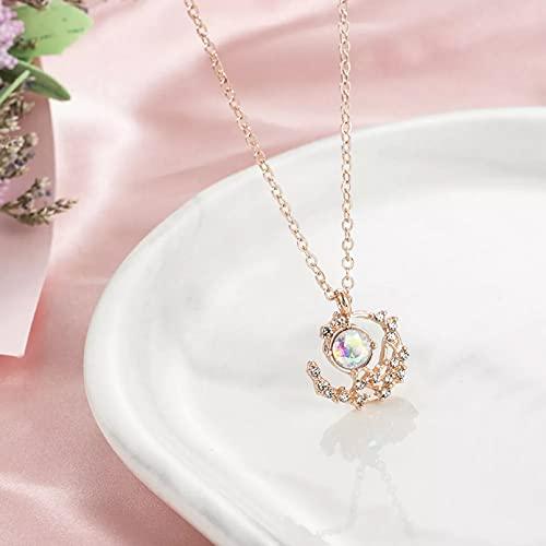 Chenfeng Collar de Mujer Mujeres Zircon Moon Heart Colgante Collar de Cadena...