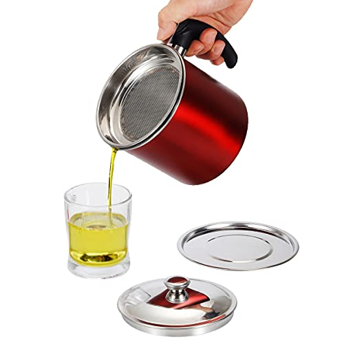 Food Grade Stainless Steel Bacon Grease Container with Fine Strainer, 1.3L (44 oz) Oil Pot Cooking Oil Filter Cooking Oil Keeper Storage Can for Kitchen
