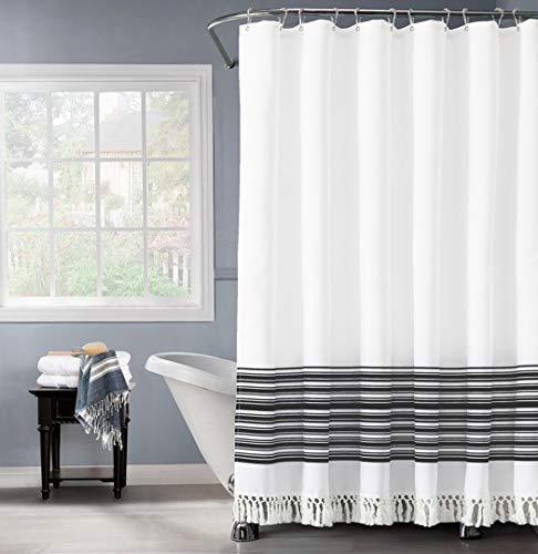 "Felisa Black and White Stripe Shower Curtain with Double Knot Fringe,Farmhouse Boho Fabric Shower Curtain for Bathroom,Machine Washable,72""x72"""