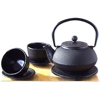/Style Japonais Th/éi/ère 0,8/L /Th/éi/ère en fonte Zen Garden Noir Tasses et dessous de plat rond/ Coffret cadeau/