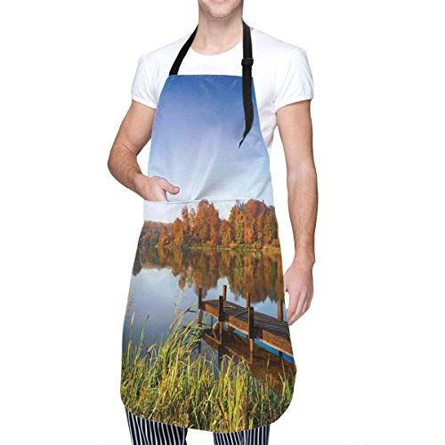 Apron,Lake View Fishing Countryside Themed with Trees and Long Reeds Work of Art Photo,Waterproof Durable Adjustable Work Apron with Pockets Easy Care Aprons for Women Men Adult