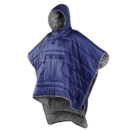 AWANG Men Women Hoodie Blanket Sweatshirt, Wearable Hoodie Poncho Cloak Sleeping Bag Ultralight Warmth Hoodies Blanket Windproof Water-resistant Cloak Warm Cover Coat, One Size Fits All (Blue)