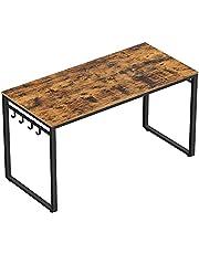 VASAGLE Datorskrivbord, skrivbord, skrivbord med 8 krokar
