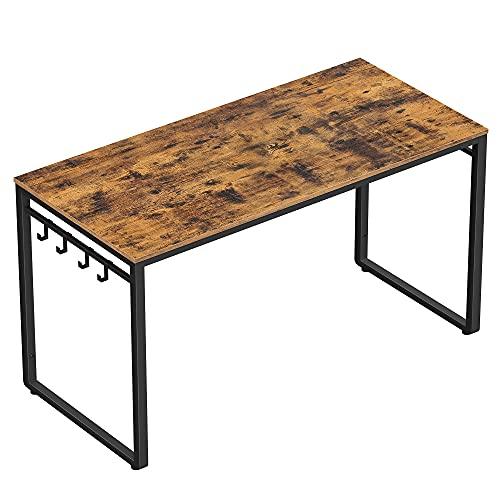 VASAGLE biurko, biurko pod komputer, biurko biurowe z 8 haczykami, 120 x 60 x 75 cm, gabinet, biuro domowe, biuro, łatwy montaż, metal, wzornictwo przemysłowe, vintage brązowo-czarny LWD58X