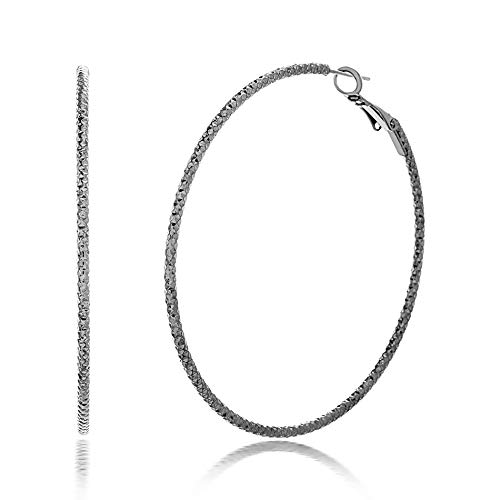 Steve Madden 60mm Hematite Plated Textured Hoop Earrings For Women (Grey)