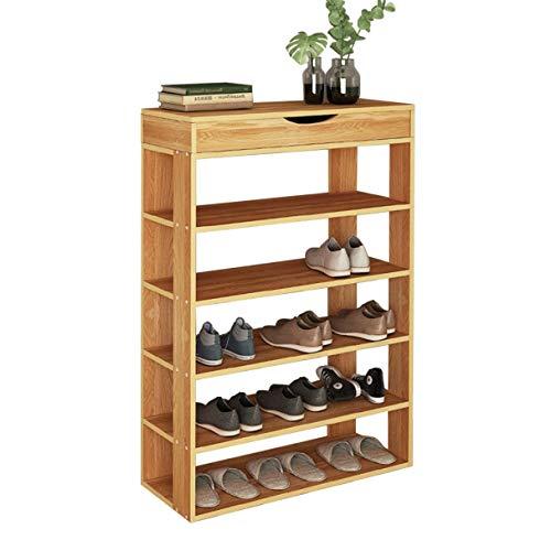sogesfurniture Holz Schuhregal 5 Ebenen Schuhschrank Schuhablage Standregal Schuhständer für 20 Paar Schuhe, ideal für Diele, Flur, Treppenhaus, 75 x 24 x 94cm, Teak BHEU-L24-TK