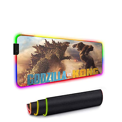 Godzilla VS Kong 2021 RGB Gaming Mouse Pad,Large Extended Soft Led Mouse Pad with 14 Lighting Modes 2 Brightness Levels, Computer Keyboard Mousepads Mat 700 x 300mm / 27.5×11.8 inches