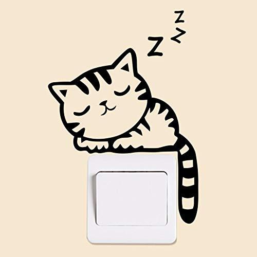 Precioso Gato Durmiendo Gatito Pegatinas Para Interruptor Para Habitación De Niños Decoración De Pared Animales Vinilo Mural Arte Calcomanías Para El Hogar