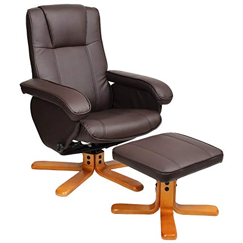 EVRE Armchair With Foot Stool & Reclining Functions Swivel Padded Faux Leather - Brown