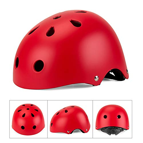 WEZER OTY Fahrradhelm, Kinder, 2.0 LE Fahrradhelm, Kinder, 48-52 cm leicht zu öffnen und anpassbar an die Kopfform,B. red