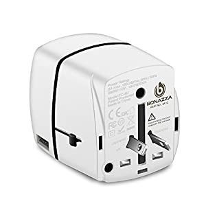 BONAZZA Universal World Travel Plug Power Adapter w/4 Fast Charging USB Port (3 USB A +1 USB C) International Plugs Adaptor for US, AU, Asia, Europe, UK Plug Adapters Compatible Over 150 Countries