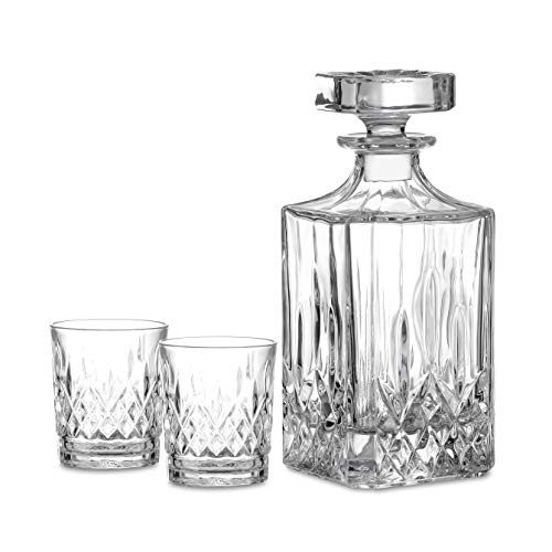 Amisglass- Decantador y Vasos de Whisky Set con Cuerpo Grabado, Juego Aireador de Whiskey y Vaso Whisky de Vidrio de Cristal, 100% sin Plomo, Set de 3 Piezas - 1 Jarra (700 ml) y 2 Vasos (300 ml)
