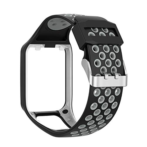 RuenTech Compatible with Tomtom Spark 3 / Runner 2 3 / Golfer 2 Watch Band, Replacement Silicone Straps Wristband Sport Band Compatible for Runner 2 3 and Spark 3 (Black&Gray)