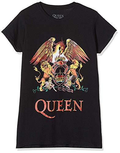 Rockoff Trade Queen Classic Crest Camiseta, Negro (Black Black), 36 (Talla del Fabricante: Small) para Mujer
