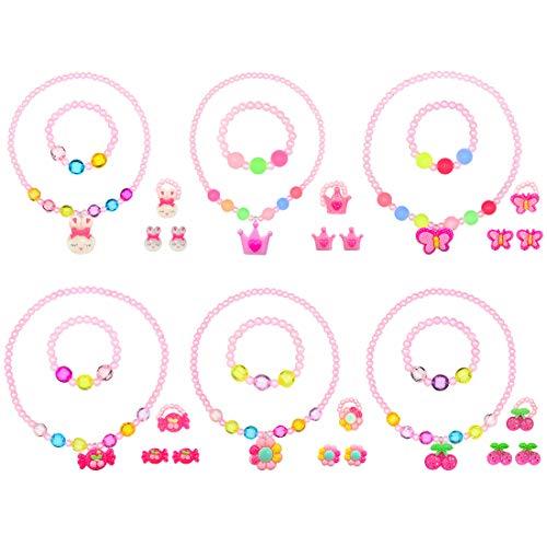 tmtonmoon Mädchen Halskette Armband Ohrringe Ring Schmuck Set Blume Kirsche Süßigkeiten Hase Schmetterling Krone Schmuck für Kinder Set Kindergeburtstag Schmuckset