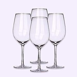SDFSX - Juego de 4 copas de vino de cristal sin plomo, para cenar en familia, fiestas de cumpleaños, fiestas de vino, bares, restaurantes, etc.