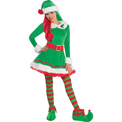 Amscan Green Elf Costume for Women, Christmas Costume, Medium, with Included Accessories