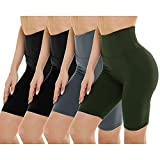 GAYHAY 4 Pack Biker Shorts for Women - High Waist Tummy Control Workout Shorts for Yoga Running Athletic(One Size, Black/Black/Gray/Olive)