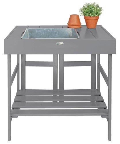 Esschert Design Pflanztisch, Gartentisch in grau, ca. 79 cm x 58 cm x 82 cm