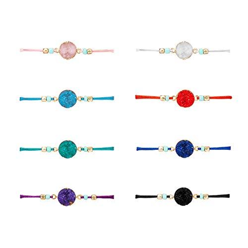 Make A Wish Bracelet Handmade Resin Druzy Bracelet Simple Women Jewelry Gifts Pack of 2/4/6/8 (8pcs)