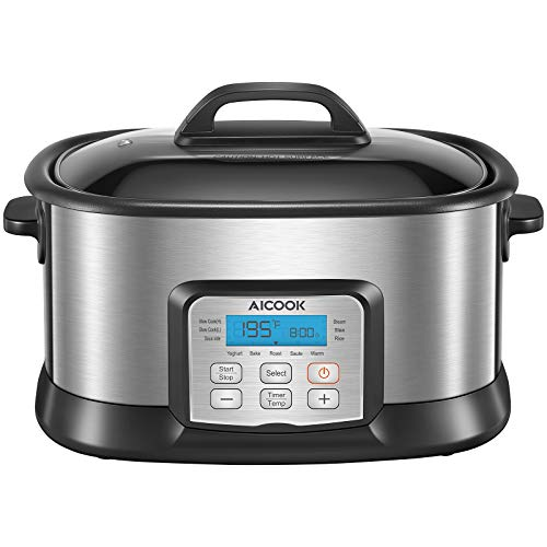 Slow Cooker 6Qt, AICOOK 10-in-1 Programmable MultiCooker, Adjustable Temp & Time Food Steamer, Automatic Keep Warm for Slow Cook with Digital Timer, Non-Stick Pot, Glass Lid, Steaming Rack, 1500W