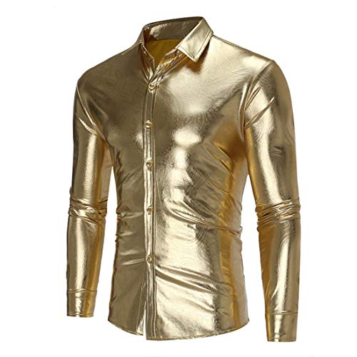 Men Shirt Men Tops Soft Comfortable Slim Light Button/Drawstring Men Shirt New Long Sleeve Bar Nightclub Disco Band Performance Men Shirt Trend Men Tops B-Gold XL