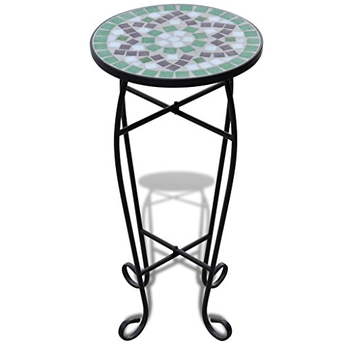 vidaXL New Balcony Mosaic Side Coffee Table Plant Flower Terrace Green Wedding Dining