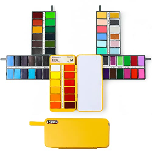MEEDEN 60-Colors Watercolor Paint Set with Velvet Bag - Phone-Shape Foldable Travel Watercolor Kit for Plein Air, Field, Sketch & Outdoor Painting, Nice Gift for Kids, Young Artists & Watercolorists