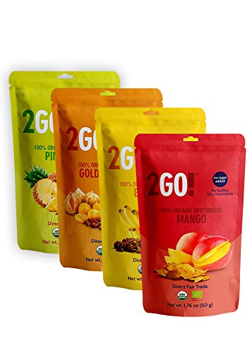2GO! Snacks Organic Dried Fruit 4 count (Mixed, 1.76 oz)