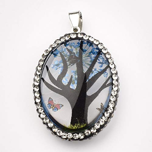 Natürliche getrocknete Blumen-Seitenbohrer handgemachte hängende Halsketten-runde ovale lange Streifenmehrfache Farbe DIY hängende Frau