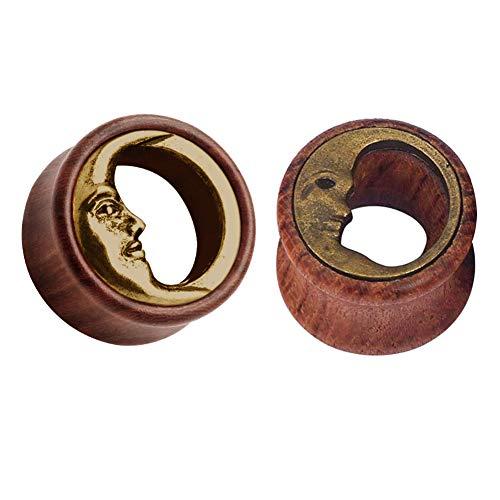 Funseedrr 1 Par de Dilataciones de Orejas de Madera Luna Expansor de Túnel de Oreja Circular Agujero Ampliar Piercing Joyas(8-20mm)