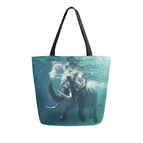 SunsetTrip - Bolsa de lona para mujer, diseño de elefantes africanos, reutilizable, grande, bolsa de compras con bolsillo interior