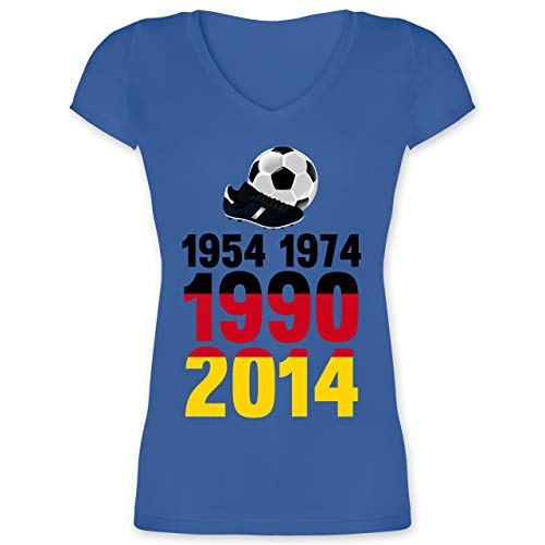 Fußball-Europameisterschaft 2021-1954, 1974, 1990, 2014 - WM 2018 Weltmeister Deutschland - 3XL - Blau - WM - XO1525 - Damen T-Shirt mit V-Ausschnitt