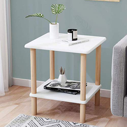 H-CAR Side Table Coffee Table End Table Side Table Wooden End Table Square Nightstand with Open Front Storage Compartment Modern Coffee Table for Living Room Sofa Table End Tables