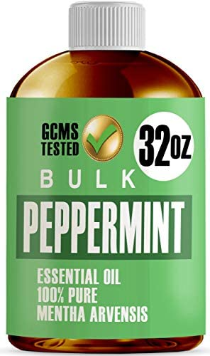 16oz Bulk Peppermint Essential Oil (Giant 16 Ounce Bottle- Therapeutic Grade Peppermint Oil) Perfect for Aromatherapy Diffuser, Help Repel Mice & Rats, Candle & Soap Making, Lotions, Body Wash