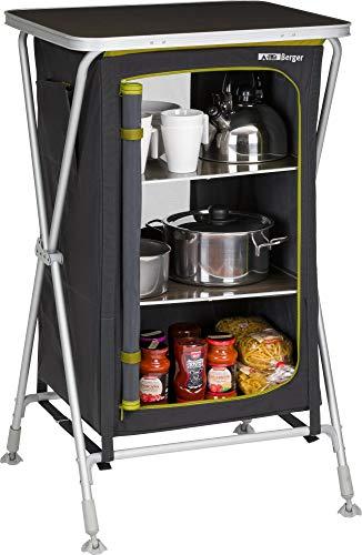 BERGER Klappbox Pablo S Küchenbox 60 x 102 x 51 cm Faltbarer Beistelltisch Alu Faltschrank grau