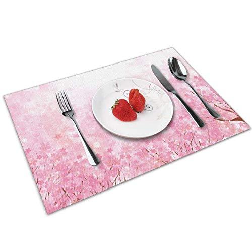 Mantel Individual Tapete de mesa Árbol de Sakura en flor de cerezo japonés rosa pálido con influencia romántica en el tema de la naturaleza asiática Arte Tapete de mesa rosa bebé 30X45CM