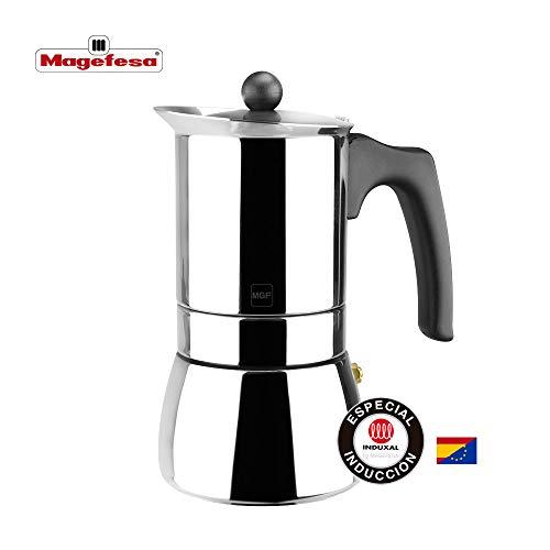 MAGEFESA Genova – La cafetera MAGEFESA Genova está Fabricada en Acero Inoxidable 18/10, Compatible con Todo Tipo de Cocina. Fácil Limpieza (Cromado, 4 Tazas)